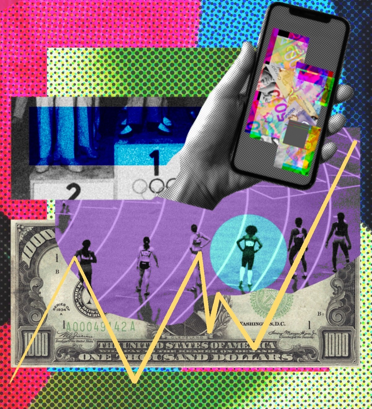 A collage depicting Olympic athletes standing in a line, a $1,000 bill and a hand holding a cell phone.