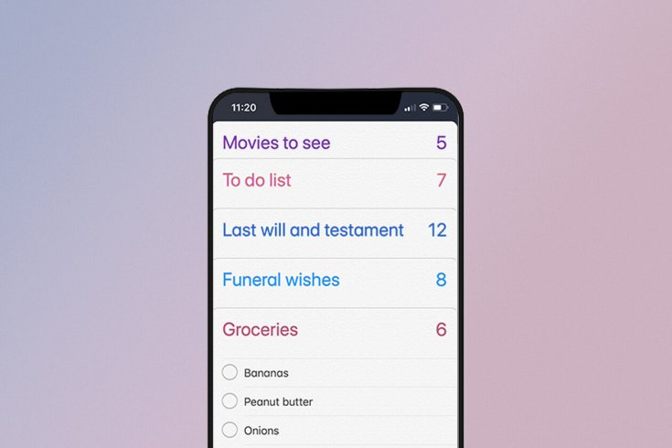 An iPhone that shows a list of to-do tasks, including to make a last will and testament.