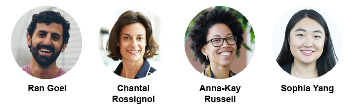 Four images of the smiling faces of four event speakers: Ran Goel, Chantal Rossignol, Anna-Kay Russell, and Sophia Yang