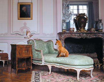 fox sitting on a chaise longue