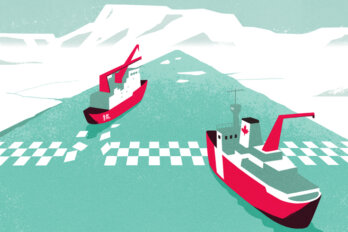 An illustration of two ships crossing a checkered finish line. The ship in the lead has Chinese characters on the side. The ship behind it has a small Canadian flag.