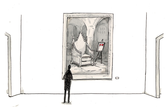 Illustration of a silhouette of a human looking at a large framed image on the wall featuring a throne and a Canadian flag.