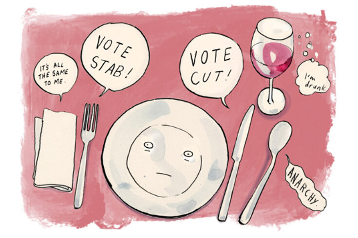 Illustration of a place-setting at the dinner table on a pink background with speech bubbles about voting above the knife, fork and spoon.