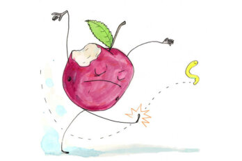 Illustration of an apple with a bite taken out of it, with arms and legs. The apple is kicking a yellow worm.