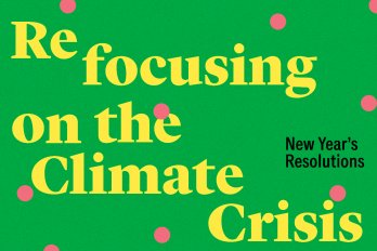 "Yellow text that reads ""Refocusing on the Climate Crisis, New Year's Resolutions,"" on a dark green background with pink polkadots"