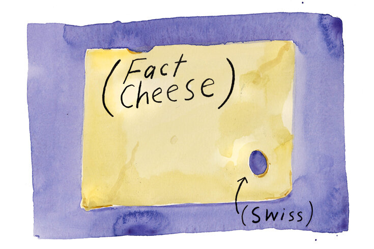 An illustration of a purple square and a drawing of a piece of swiss cheese with a single hole. The words over the Swiss cheese say fact cheese in brackets and Swiss in brackets.