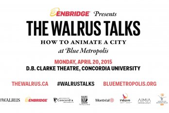 Still shot of title card from Enbridge presents The Walrus Talks How to Animate a City