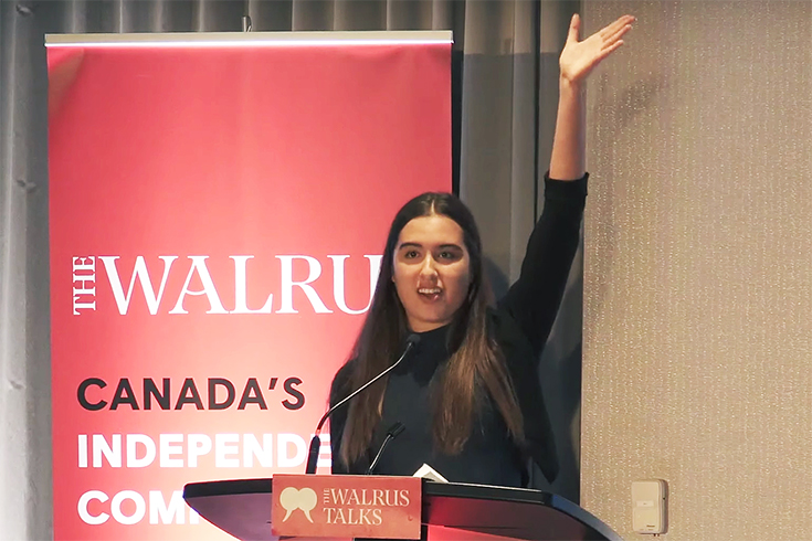 Eva Greyeyes at The Walrus Talks Youth Leadership