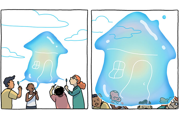 An illustration of a group of people blowing a housing-shaped bubble