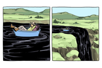A two-panel comic. In the first panel, a person lies backwards in a boat on a river of black liquid, looking relaxed. The second panel zooms out, and we see the person is about to fall off a waterfall, which they don't see because their back is turned.
