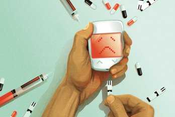 A pair of hands attempts to plug in an insulin pump, but the screen displays a red sad face. The hands are surrounded by syringes and pills against a mint-green background.