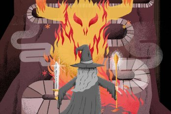 Illustration of a robed wizard, with long grey hair and a pointed hat, facing away from the viewer and standing in front of a long, twisting path that is blocked by a fiery head of a monster.