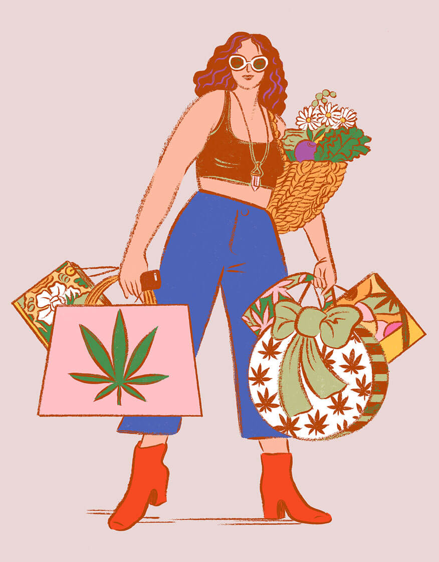 A woman wearing sunglasses, a crop top and wide-leg jeans carries half a dozen shopping bags branded with cannabis iconography, against a pink background.