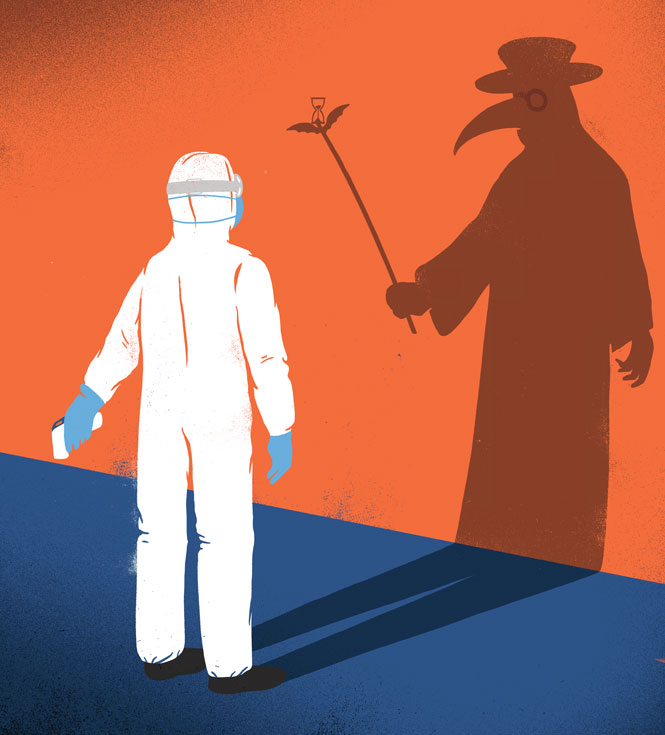 A person in full-body protective gear looks at his shadow on the wall, which is a robed figure in a broad hat and a plague mask with a long beak.