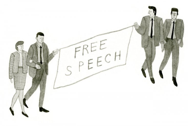 Students dressed in 1960s clothing hold a sign that reads free speech.