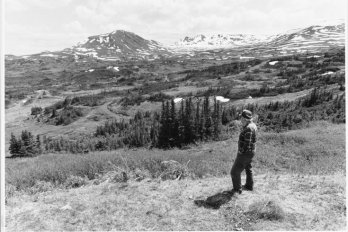 man standing near mountains in alberta