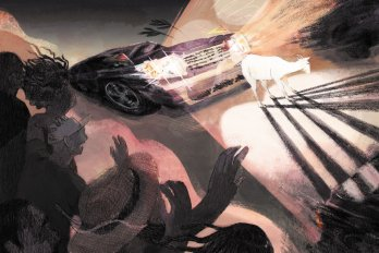 An illustration of a car about to collide with a white goat, illuminated in its headlights. On the side of the road, a crowd of people watch and react in surprise.
