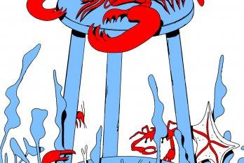 A red lobster rests on a bright blue barstool. Below, blue sea plants wave in the water.