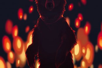 Illustration of a bear standing on its hind legs. It is wearing a muzzle on its head and its eyes are glowing. Behind it, a fire is burning against a dark night.