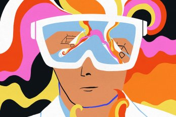 Psychedelic-style illustration of a man wearing a white coat and large goggles to protect his eyes. In the goggles' reflection, we see two hands pouring brightly-coloured material from one into the other. His hair is a spectrum of brightly-coloured waves.