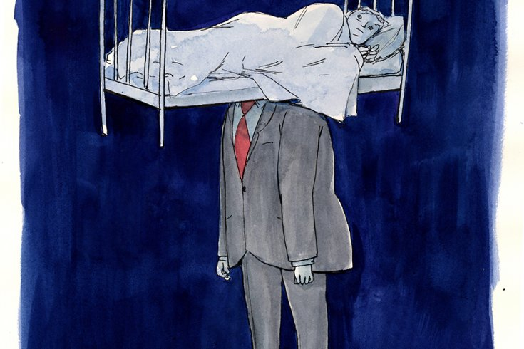 An illustration of a man in a grey suit, but on his shoulders instead of his head lies a person curled up in a bed. The background is a very dark blue