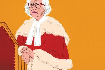 Vector drawing of the chief justice with her hands folded over a lecturn