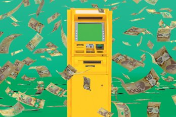 Image of an ATM against a green background. Hundred-dollar bills swirl in the air around it.