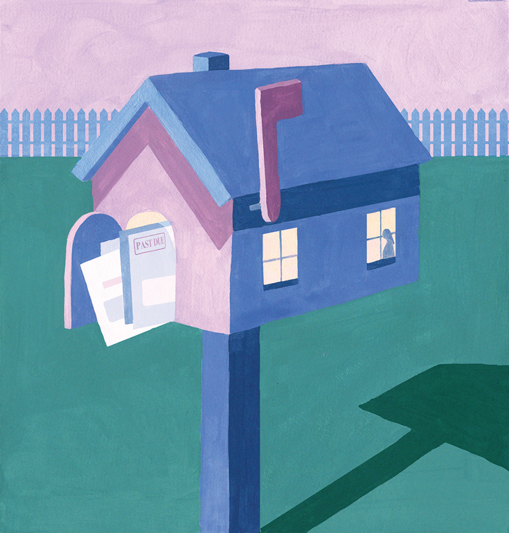Illustration of a house-shaped mailbox overflowing with bills that are past due.