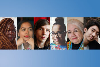 Photos of the six short-listed authors for the Amazon First Novel Award 2021.
