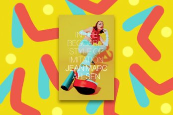 A yellow book cover with a woman wearing blue tights and high platform shoes. The background, yellow, red and blue graphics, corresponds with the cover of the book.