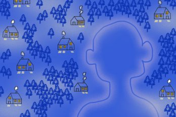 An illustration of the head and shoulders of a human silhouette. In the background are several small houses, spread far apart, with a high density of trees in between. The colour scheme is dark periwinkle blue and the houses have yellow lights.