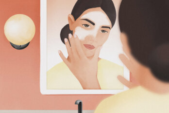 An illustration of woman staring at herself in a mirror, applying cream to her face.