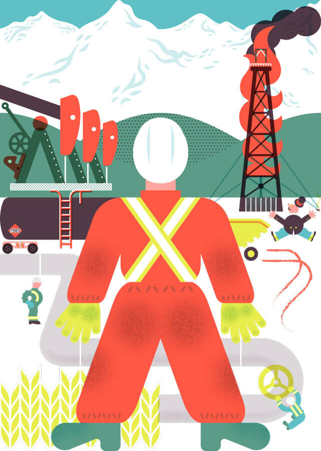 Illustration of oil field worker