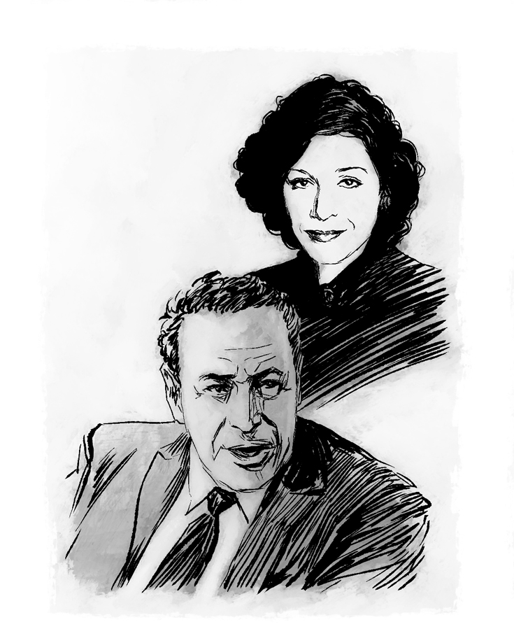 Sketched illustration in black and white of David Frum and his mother, Barbara Frum.