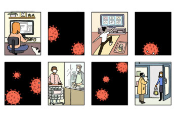 A comic alternating between people engaging in lockdown activities and close-ups of the virus
