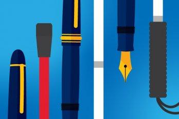 Illustration of alternating segments of a fountain pen and a white cane, against a dark blue background.