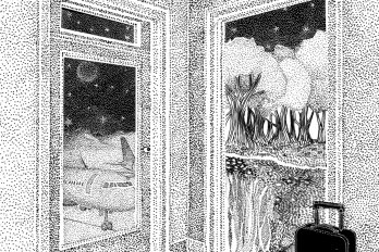 Black and white illustration of a room corner, done in a pointillist style. There are two doorways: one leads to an airplane, the other to a forest and riverbank. A suitcase waits by the door.