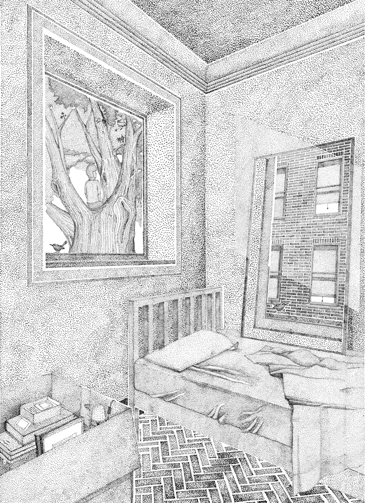 A black and white pointillist illustration of a bedroom's interior. There is a window in each corner; one displays a tree, the other a building.