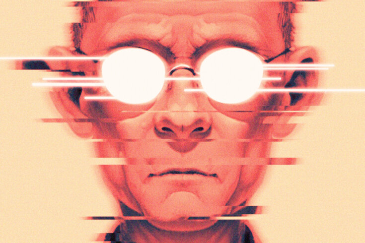 An illustration of sci-fi author William Gibson.