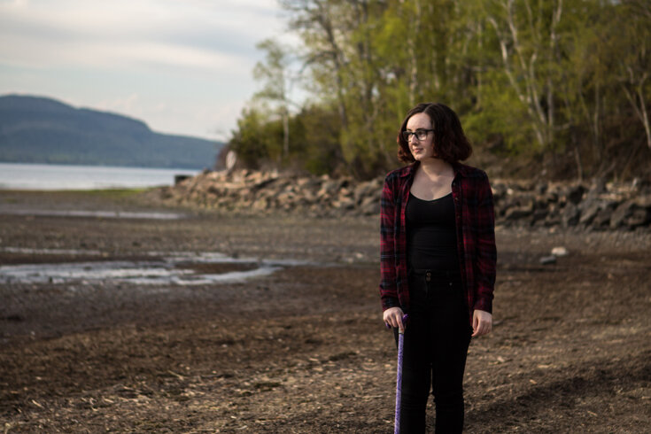 Photograph of Gabrielle Cormier near her family home in Dalhousie Junction, NB.