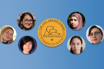 An image of all six shortlisted writers for the 2021 Amazon First Novel Award's Youth Short Story category. The images are of the following people: Aimee Despres-Smyth, Stella Braun, Diya Singh, Rama Altaleb, Yanxi Li, and Malcolm Wernestrom. All of their images are against a light blue background. In the centre of the image of the Amazon First Novel Award logo.
