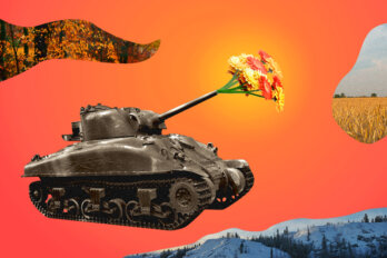Illustration of an army tank against a bright orange background. Instead of a firearm, the tank is shooting flowers.
