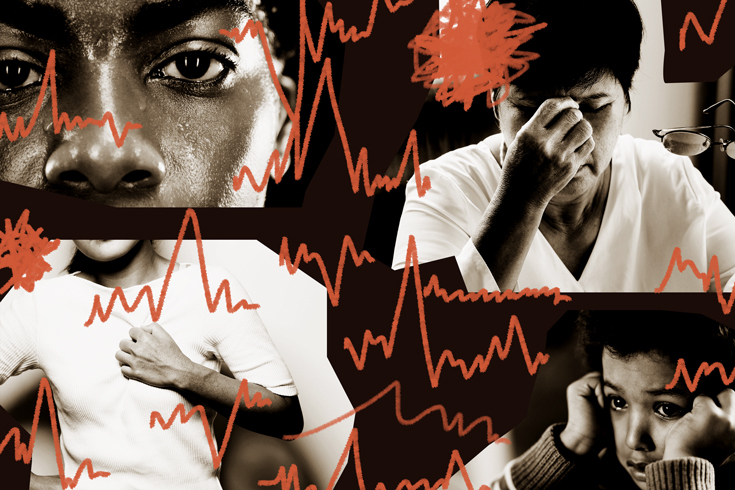 A quadrant of four black and white photos of people experiencing fear or stress. Surrounding the photos are red lines that resemble the beeps on a heart monitor, suggesting a fast heart rate.