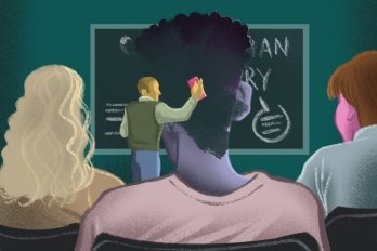 An illustration of a classroom, in which a teacher erases a blackboard. A Black student is seated in front of the board and the student's head is also being erased by the chalkboard eraser.