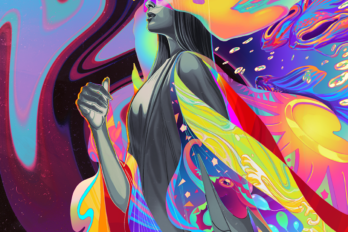 Illustration on a blue and purple background of a woman walking from right to left, with illustrated flames and a rainbow of colours following her.