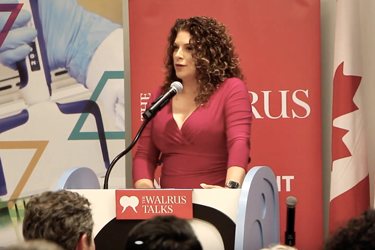 photo of Jennifer McGrath speaking at The Walrus Talks