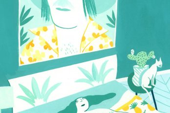 An illustration of a woman laying in bed looking at a poster