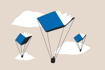An illustration of three parachutes in the shape of books flying in a tan coloured sky