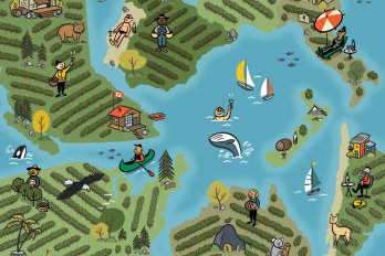 An illustrated map of several different regions in BC, depicting a variety of human and animal life and flora.