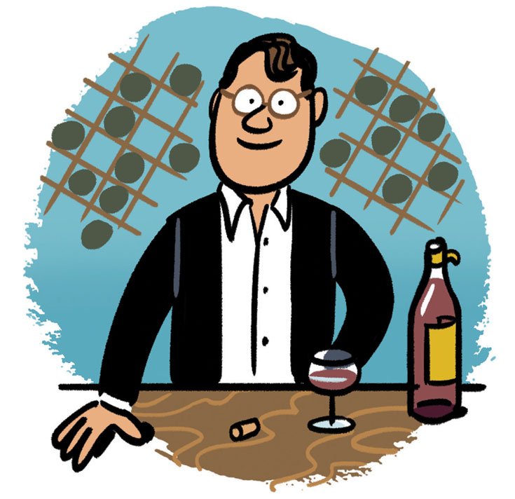 An illustration of Jacques-Olivier Pesme, a man in a white button-up and dark jacket and glasses, with an open bottle and a glass of red wine in front of him on a table.